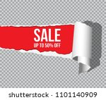 torn paper with shadow and sale ... | Shutterstock .eps vector #1101140909