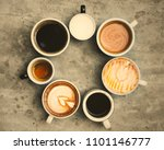 variety of cups with hot coffee   Shutterstock . vector #1101146777