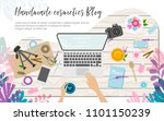 workplace of hand made... | Shutterstock .eps vector #1101150239