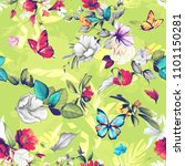 seamless floral background... | Shutterstock .eps vector #1101150281