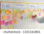 man with sticker near scrum... | Shutterstock . vector #1101161801