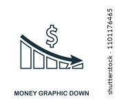money graphic down icon. flat...