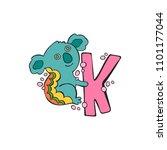 english letter k. koala.... | Shutterstock .eps vector #1101177044