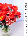 bouquet  with red tulips in... | Shutterstock . vector #1101179981