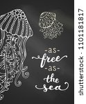 as free as the sea. chalk... | Shutterstock .eps vector #1101181817