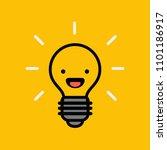 smiling happy bulb emoji icon...   Shutterstock .eps vector #1101186917