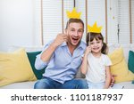 portrait of dad and child... | Shutterstock . vector #1101187937