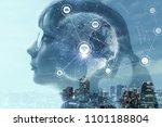 child profile and ai artificial ... | Shutterstock . vector #1101188804