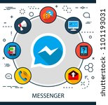 messenger flat icons concept.... | Shutterstock .eps vector #1101193031