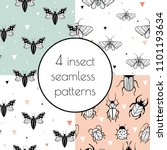 set with 4 seamless patterns... | Shutterstock .eps vector #1101193634