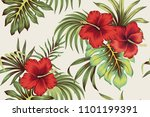 tropical vintage red hibiscus... | Shutterstock .eps vector #1101199391