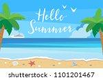hello summer background with... | Shutterstock . vector #1101201467