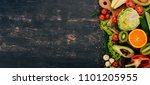 healthy food. vegetables and... | Shutterstock . vector #1101205955
