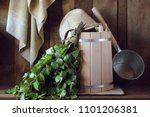 bath broom made of birch and... | Shutterstock . vector #1101206381