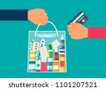 full package of medicines and... | Shutterstock .eps vector #1101207521