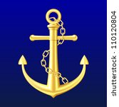 Gold Anchor With Chain On Blue...