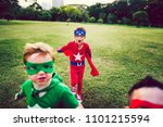 colorful superhero kids with... | Shutterstock . vector #1101215594