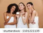 beauty photo of three smilng... | Shutterstock . vector #1101221135
