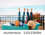 happy couple relax on balcony... | Shutterstock . vector #1101228584