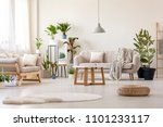 pouf next to rug in bright... | Shutterstock . vector #1101233117