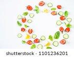 strawberries  lemon  cucumber... | Shutterstock . vector #1101236201