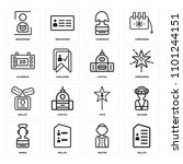 set of 16 icons such as ballot  ...