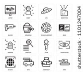 set of 16 icons such as tank ...