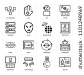 set of 16 icons such as healing ...