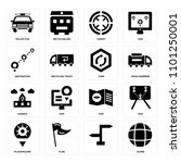 set of 16 icons such as globe   ...