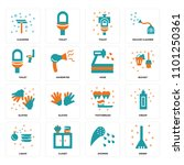set of 16 icons such as sweep ...