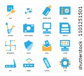 set of 16 icons such as cpu ...   Shutterstock .eps vector #1101251501