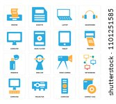 set of 16 icons such as compact ...