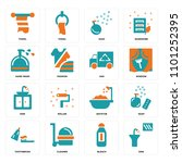 set of 16 icons such as sink ...