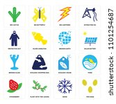 set of 16 icons such as two...