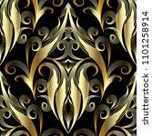 gold 3d damask seamless pattern.... | Shutterstock .eps vector #1101258914