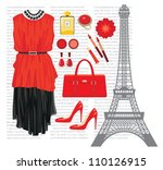 fashion set with the eiffel... | Shutterstock .eps vector #110126915