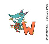 english letter w. wolf.... | Shutterstock .eps vector #1101271901