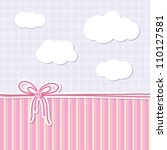 Stock vector baby background with bow buttons and clouds 110127581