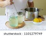 elder flowers  water  lemon and ...   Shutterstock . vector #1101279749
