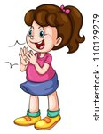 illustration of a girl on a... | Shutterstock .eps vector #110129279