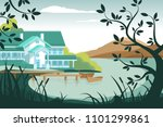 country house on river bank | Shutterstock .eps vector #1101299861