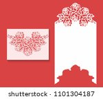 paper greeting card with lace... | Shutterstock .eps vector #1101304187