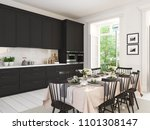 3d rendering of modern kitchen... | Shutterstock . vector #1101308147