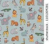 african jungle animals vector...   Shutterstock .eps vector #1101309281