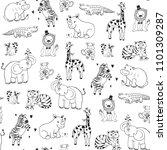 african jungle animals vector...   Shutterstock .eps vector #1101309287