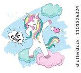 dabbing unicorn on a blue...   Shutterstock .eps vector #1101326324