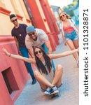 group of friends having good... | Shutterstock . vector #1101328871