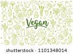 vegan concept banner. flat...   Shutterstock .eps vector #1101348014