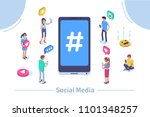 social media concept with... | Shutterstock .eps vector #1101348257