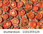 raw pizza background | Shutterstock . vector #1101355124